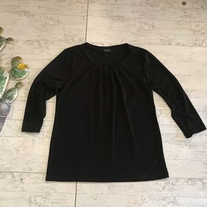 Ann Taylor Black pleated stretch poly shirt size M